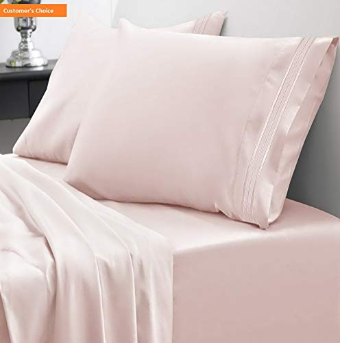 Mikash 1800 Thread Count Sheet Set - Soft Egyptian Quality Microfiber Hypoallergenic Sheets - Luxury Set with Flat Sheet, Fitted Sheet, 2 Pillow Cases, California King, Pale Pink   Style 84597053