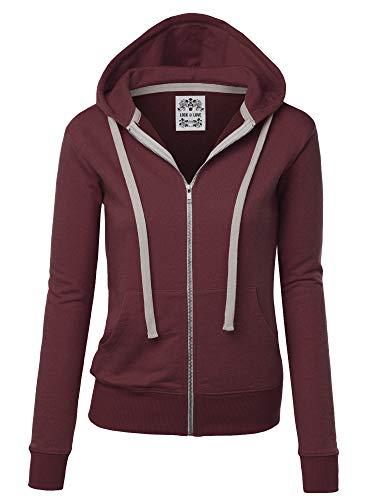 - Lock and Love LL WSK954 Womens Active Fleece Zip Up Hoodie Sweater Jacket L Wine