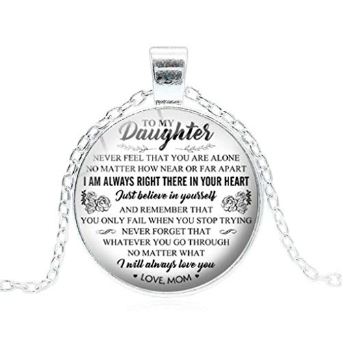 (Eleusine Fashion to My Daughter Time Gemstone Letter Necklace Handmade Round Convex Glass Pendant Family Gift Jewelry from Dad Mother Personalized Sweater Necklace Accessories (Silver))