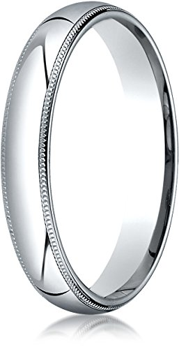 Benchmark Platinum 4mm Slightly Domed Super Light Comfort-Fit Wedding Band Ring with Milgrain, Size 8