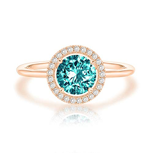 Swarovski Crystal 14K Rose Gold Plated Birthstone Rings | Rose Gold Rings for Women | Emerald ()