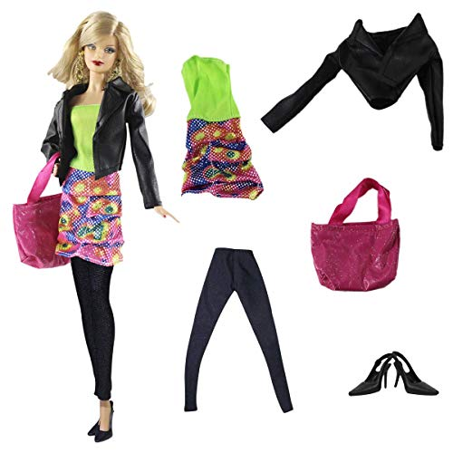 "ZITA ELEMENT Set of 5 Pcs Fashion Clothes & Accessories for 11.5 Inch Girl Doll | Dress, Shoes, Coat, Trousers, Handbag for 11.5"" Doll Outfits"