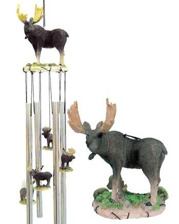 Moose Windchime with Hanging Moose Ornaments Between Tubes, 20