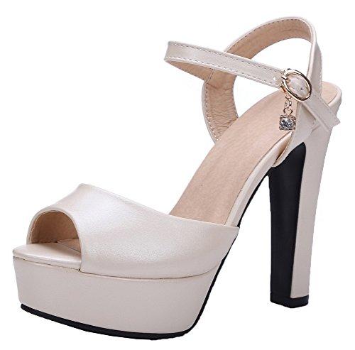 Buckle Women's WeiPoot Heels Sandals High Beige Pu Toe Peep Solid TxAUxwq
