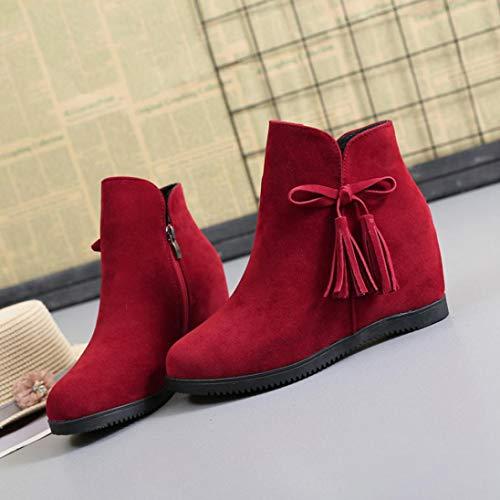 Rojo Cremallera Casuales para Zapatos Mujer Gamuza Botines Boots de con as Plataforma Botines Zapatillas Borla Martin Cu Logobeing S4qTwPg1q