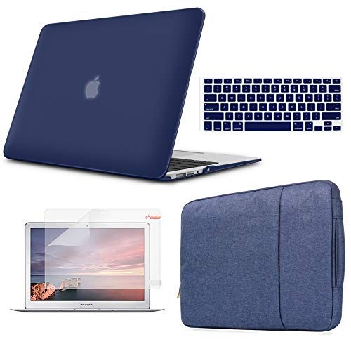 Holilife MacBook Pro 13'' Case Bundle 4 in 1, Pure Color Ultra-Slim Matte Frosted Shell with Sleeve,Screen Protector & Keyboard Cover for MacBook Case New Pro 13 inch (A1989/A1706/A1708), Navy Blue