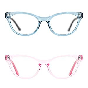 TIJN Retro Women Cat Eye Glasses Translucent Cateye Eyeglasses Frames Clear Lens