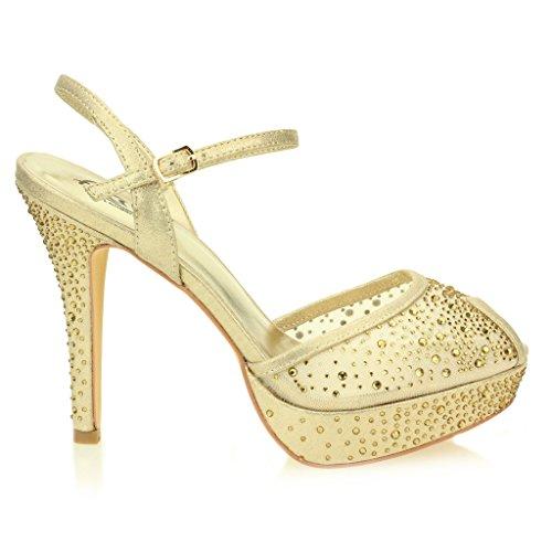 Mujer Señoras Noche Boda Fiesta Tacón alto Plataforma Diamante Nupcial Sandalias Zapatos tamaño Oro