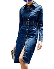 Tanming Women's Lapel Epaulet Buttons Waist Belt Outerwear Denim Jean Long Coats Jackets