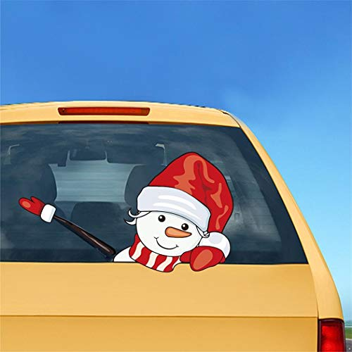 Alisena 1Pack Christmas Santa and Reindeer Waving Wiper Decal for Rear Window 3D Cartoon Festive Car Sticker Vinyl Decal for Vehicle Rear Wipers Xmas Decoration