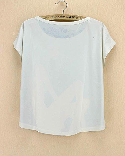 para redondo verano de de Top corta de con manga y Camiseta camiseta cuello chaleco mujer Acvip 7qw7dZ
