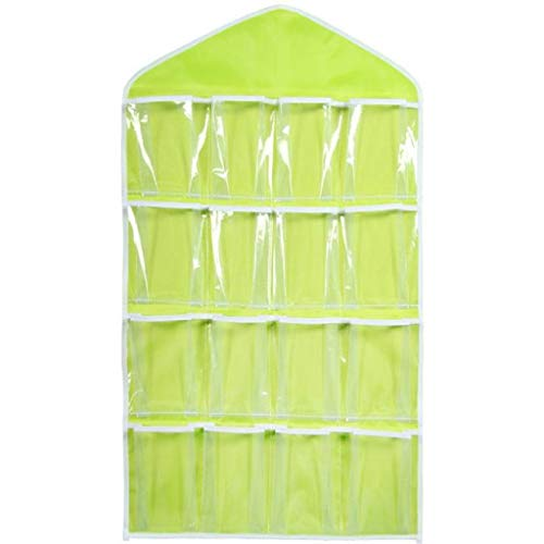 Libobo1Pcs 16Pockets Clear Hanging Bag Socks Bra Underwear Rack Hanger Storage Organizer (Green)