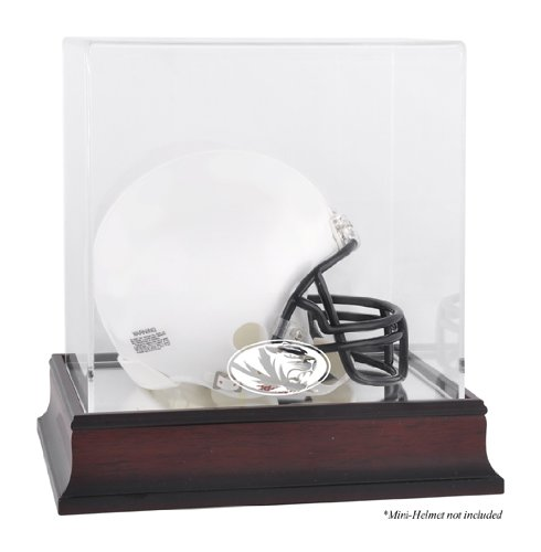 Missouri Tigers Logo Mini Helmet Display Case | Details: Mahogany, Mirror Bottom