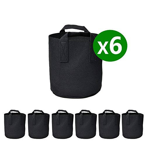 Garden Plant bags / 6-Packs 5 Gallon Grow Bags /Aeration Fabric Pots /Handles (Black)