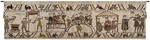 Charlotte Home Furnishing Inc. Belgian Tapestry Wall Hanging, 100 in. x 27 in, Bayeux Banquet