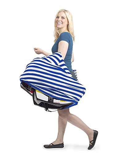 Premium Nursing Breastfeeding Cover Stretchy Fabric | Suitable for Baby Multiuse Car Seat | Blue & White Striped Design