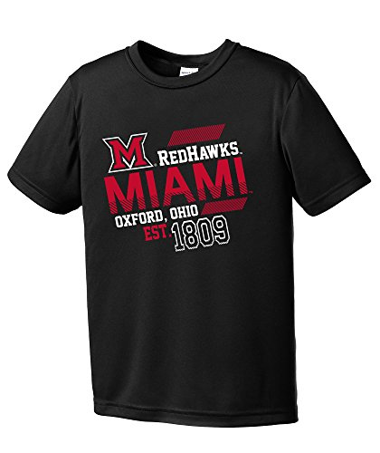 Miami Ohio Redhawks Baseball (NCAA Miami (Ohio) Redhawks Youth Boys Offsides Short sleeve Polyester Competitor T-Shirt, Youth Large,Black)
