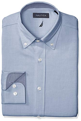 Nautica Men's Classic Fit Button Down Collar Oxford Dress Shirt, French Blue, 15 32/33