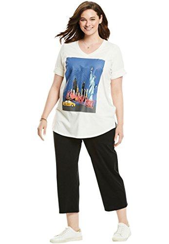 Woman Within Women's Plus Size Knit Capri Pants Set by Woman Within
