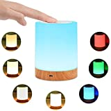 KMASHI Touch Lamp, Bedside Table Lamps for Bedrooms, Rechargeable Portable Night Light with Dimmable 2800K-3100K Warm White Light& Color Changing RGB