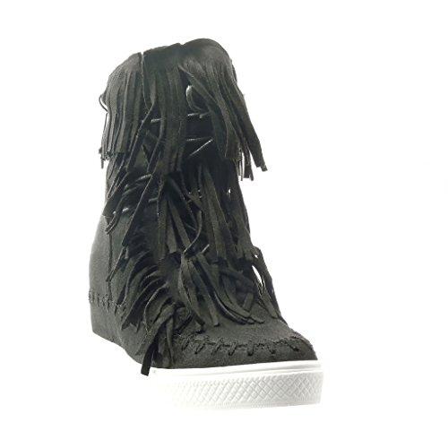 Angkorly - Zapatillas de Moda Deportivos Plataforma mujer fleco pompom Talón Plataforma 8 CM - Negro