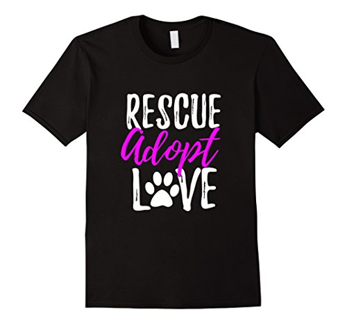 Adopt Cat (Mens Rescue Adopt Love T-Shirt Funny as Dog or Cat Lover Gift XL Black)
