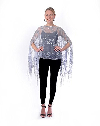 Love My Seamless Womens Mother of The Bride Beaded Fashion Shawl Tunic Poncho Cover up Top (Silver) ()