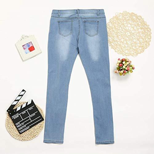 Mujeres De Slim Vaqueros Mujer Pantalones Hellblau Casuales Pantalón Alto Bolsillos Rota Elástico Cintura Corte Con Pitillo fF6xwqWn