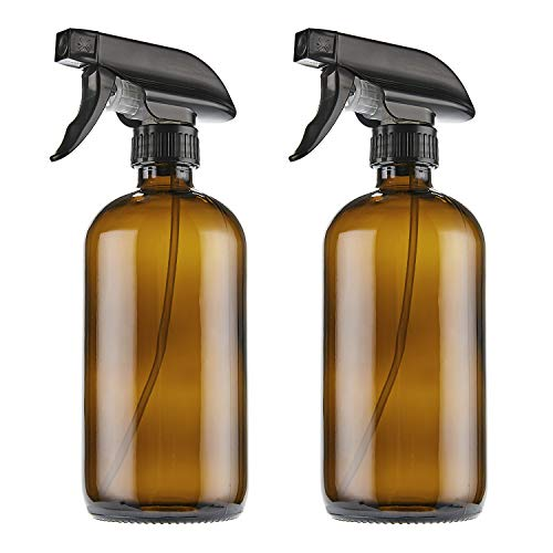 (THETIS Homes 16oz Empty Amber Boston Spray Bottles with Trigger Sprayers, Caps and labels, Glass Bottles for Essential Oils, Cleaning products, Room Spritzers or Aromatherapy (2 Pack))