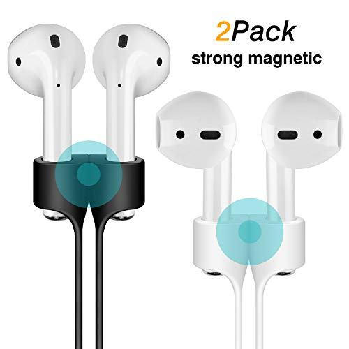 Cuauco [2 Pack] Magnetic Adsorption Anti-Lost Strap Compatible with Apple Airpods 1&2 Sport Protective Silicone Lanyard for Apple Airpods 1&2 Wireless Headphone (White + Black)