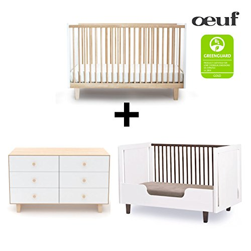 Oeuf Rhea Collection Complete Nursery in Birch with 6 Drawer Dresser by Oeuf Nursery Cribs and Furniture