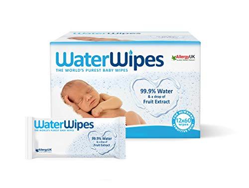 WaterWipes Salviettine Umidificate per la pelle sensibile dei bambini, 99,9% di acqua purificata, 12 Confezioni da 60 1