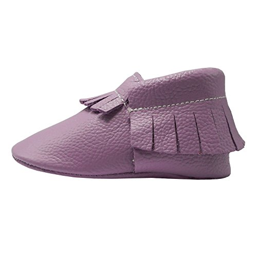 Pictures of YIHAKIDS Baby Tassel Shoes Soft Leather Sole Infant Toddler Moccasins First Walkers Shoes Multi-colors (US 4M (4.5in/3-6Mo.), Light Purple) 4