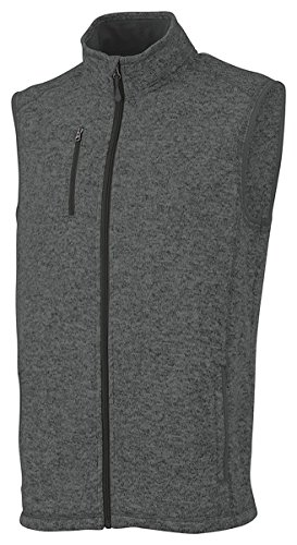 Charles River Apparel Men's Pacific Heathered Sweater Fleece Vest, Charcoal, M