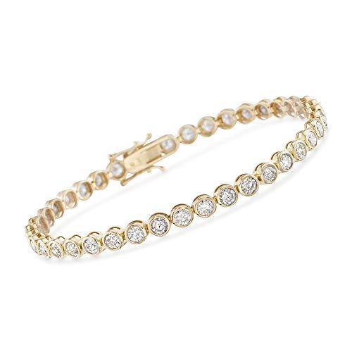 Ross-Simons 5.50 ct. t.w. Bezel-Set Diamond Tennis Bracelet in 14kt Yellow Gold ()