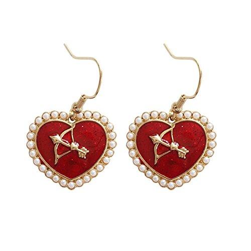 18K Gold Plated imitation pearls Sided Cupid arrow insert Red Heart Charm Women Dangle earrings