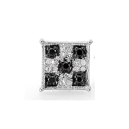 0.13 Carat (ctw) 10K White Gold Round Black & White Diamond Square Micro Pave Stud Earring (1pc) ()