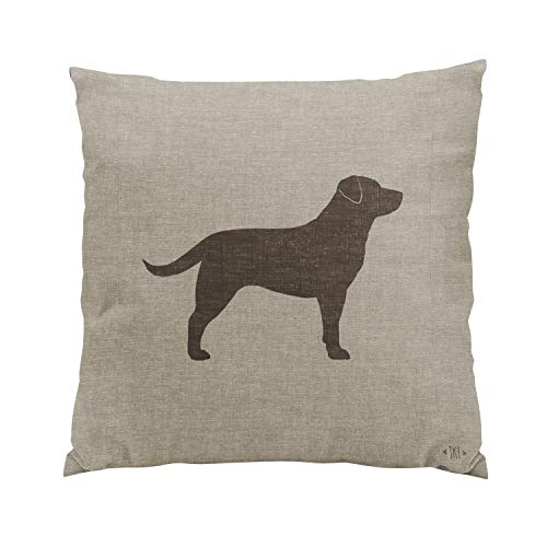 Gygarden Chocolate Labrador Silhouette Faux Linen Style Romantic Hidden Zipper Home Sofa Decorative Throw Pillow Cover Cushion Case 18x18 Inch Square Two Sides Design Printed Pillowcase