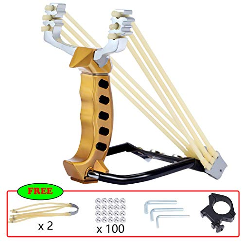Professional Wrist Rocket Slingshot Powerful Outdoor Hunting Sling Shot Accurate Shooting High Velocity Catapult with 2 Heavy Duty Launching Rubber Bands and 100 Slingshot Ammo