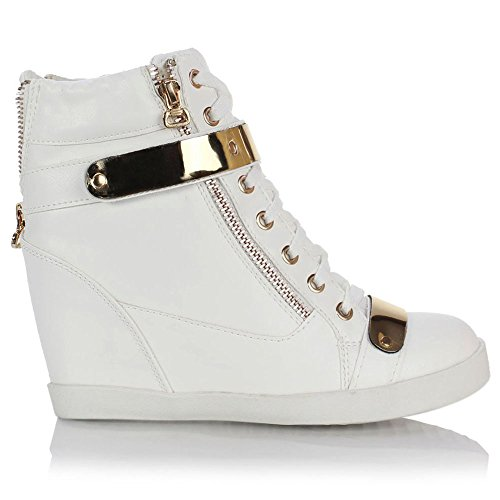 Faux WEDGE SHOES HEEL HIGH CONCEALED BOOTS Leather TRAINERS PLATFORM LADIES WOMENS White ANKLE TOPS Fqn577