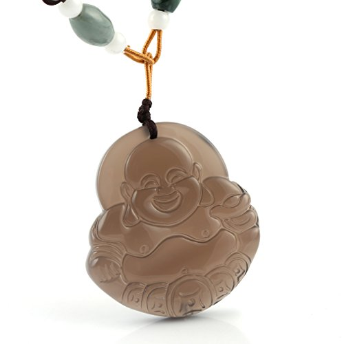 HZMAN Jewelry Hand Carved Natural Genuine Jade Chalcedony Happy Maitreya Buddha Pendant (Jade Happy Buddha Pendant)