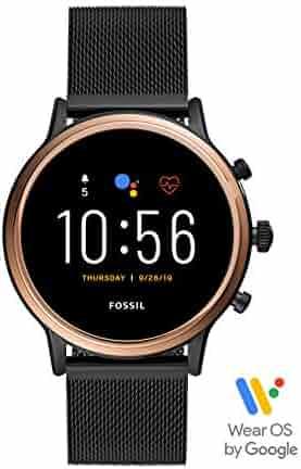 Fossil Gen 5 Julianna HR Heart Rate Stainless Steel Mesh Touchscreen Smartwatch, Color: Rose Gold, Smoke (Model: FTW6036)
