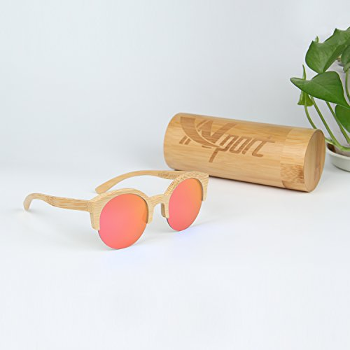 en lunettes soleil Red Crefreak bambou de Wayfarer Ynport unisexes monture style avec 507TwAtqx