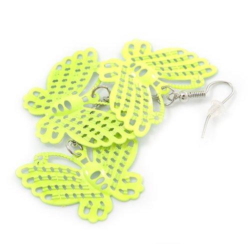 Boucles d'oreilles pendants triple papillon filigrane légère jaune néon en ton argent