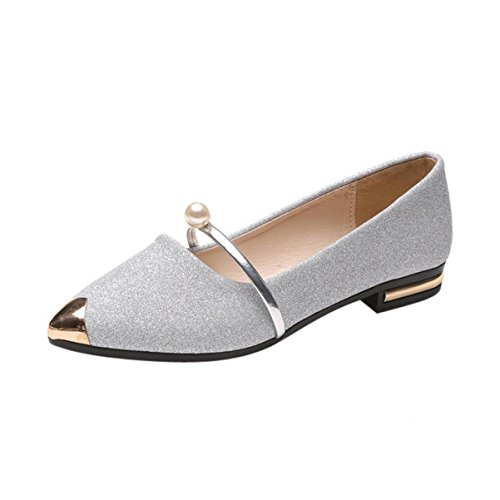 KESEE Clearance Women's Casual Flats Toe Soft Solids Comfy Shoes Soft Slip-On Casual Boat Shoes (US:7, Silver 1) (Bow Comfy)