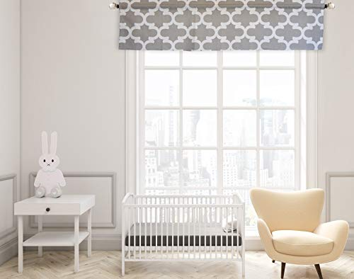 Crabtree Collection Gray Trellis Curtain Valance for Windows ()