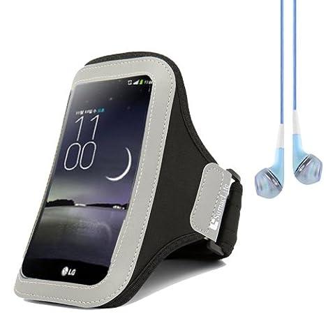 SumacLife Running Sports Jogging Armband Case Pouch for LG G Flex / LG Optimus G Pro E980 F240k (Black) + Blue VanGoddy Headphones With (Nokia Lumia 1520 Belkin Case)