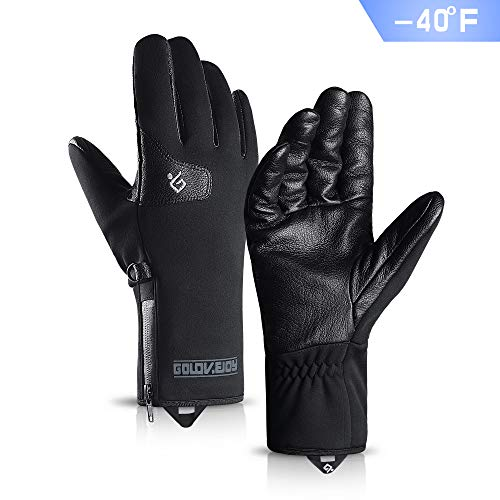 TRENDOUX -40°F(-40℃) Cold Proof Gloves with Goat Skin Palm, Windproof and Water Resistant, Touch Screen Fingertips, Warm Lining, Long Sleeve Glove for Skiing Snowboarding Cycling Driving Riding