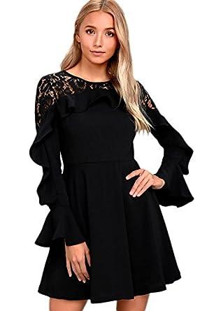 20c90724b68 Fantasy Star Women Casual Black Lace Long Sleeve Skater Dress (US 8 ...