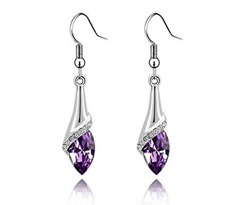 Amiley earrings for women cheap , 1 Pair Fashion Women Lady Crystal Teardrop Wedding Earrings Gift (Purple)